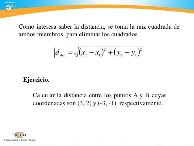 Como interesa saber la distancia, se toma la raíz cuadrada de ambos miembros, para eliminar los cuadrados.  d AB   x   ...