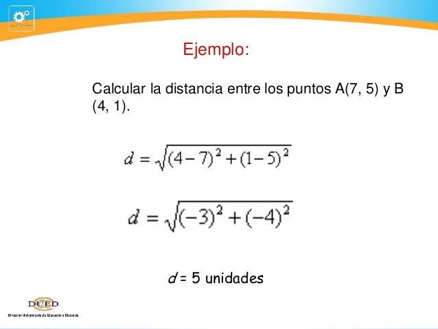Ejemplo: Calcular la distancia entre los puntos A(7, 5) y B (4, 1).  d = 5 unidades