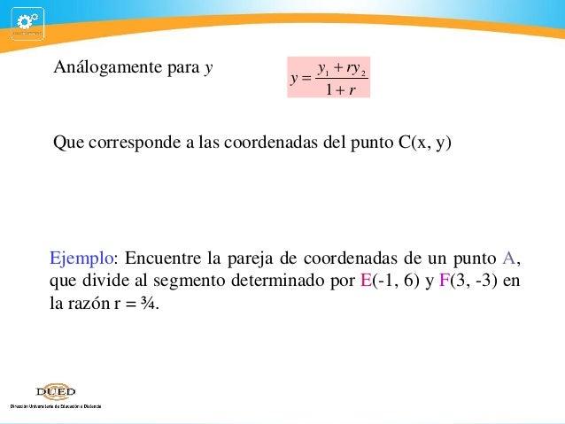 Análogamente para y  y1  ry 2 y 1 r  Que corresponde a las coordenadas del punto C(x, y)  Ejemplo: Encuentre la pareja ...