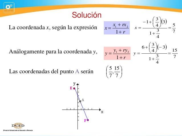 Solución La coordenada x, según la expresión  x1  rx 2 x 1 r y1  ry 2 1 r  Análogamente para la coordenada y,  y  La...