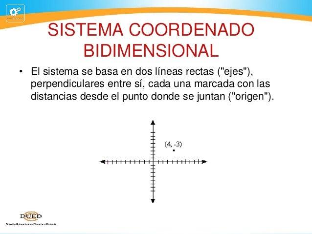 """SISTEMA COORDENADO BIDIMENSIONAL • El sistema se basa en dos líneas rectas (""""ejes""""), perpendiculares entre sí, cada una ma..."""