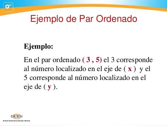 Ejemplo de Par Ordenado Ejemplo: En el par ordenado ( 3 , 5) el 3 corresponde al número localizado en el eje de ( x ) y el...