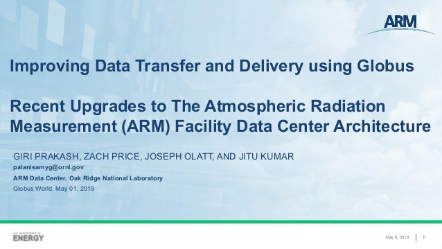May 6, 2019 1 Improving Data Transfer and Delivery using Globus Recent Upgrades to The Atmospheric Radiation Measurement (...