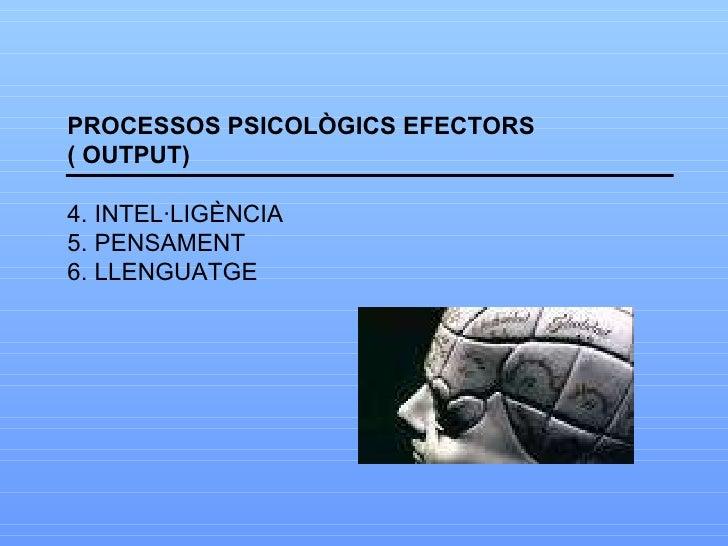 <ul><li>PROCESSOS PSICOLÒGICS EFECTORS </li></ul><ul><li>( OUTPUT) </li></ul><ul><li>INTEL·LIGÈNCIA </li></ul><ul><li>PENS...