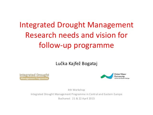Integrated Drought Management Research needs and vision for follow-up programme Lučka Kajfež Bogataj 4th Workshop Integrat...