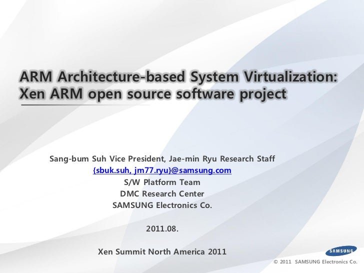 ARM Architecture-based System Virtualization:Xen ARM open source software project    Sang-bum Suh Vice President, Jae-min ...