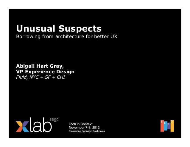 Unusual SuspectsBorrowing from architecture for better UXAbigail Hart Gray,VP Experience DesignFluid, NYC + SF + CHI
