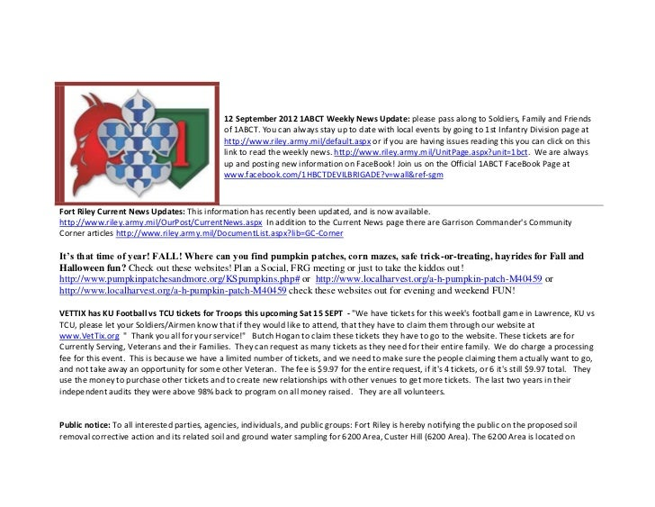 12 September 2012 1ABCT Weekly News Update: please pass along to Soldiers, Family and Friends                             ...