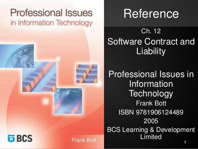 Professional issues in information technology frank bott
