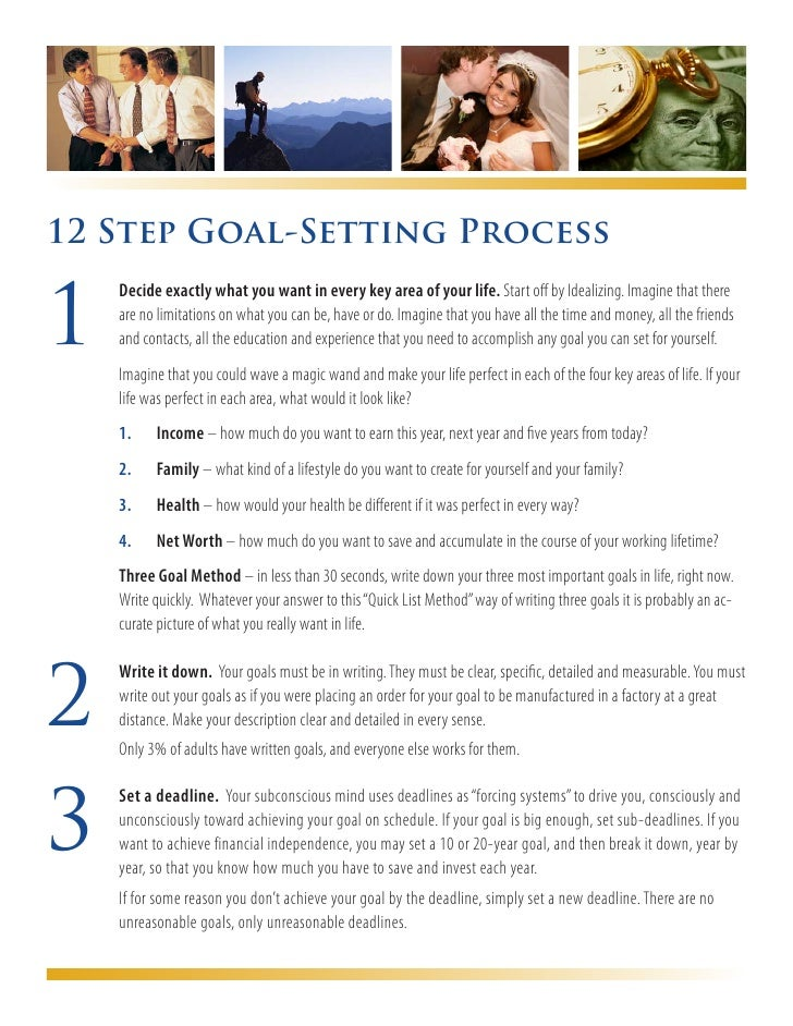 12 Step Goal-Setting Process1     Decide exactly what you want in every key area of your life. Start off by Idealizing. I...