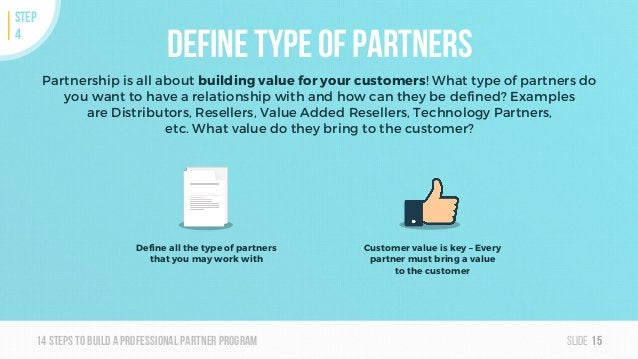 Slide14steps To builda professionalpartner program Define type of partners Partnership is all about building value for you...