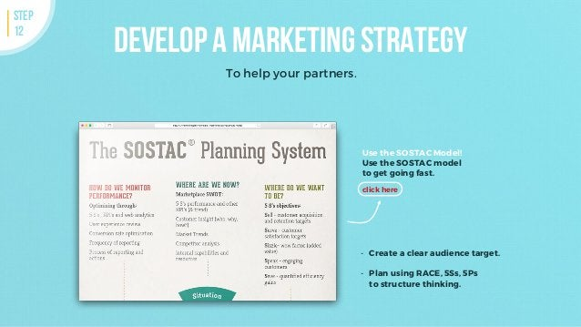 Develop a marketing strategy To help your partners. STEP 12 Use the SOSTAC Model! Use the SOSTAC model to get going fast. ...
