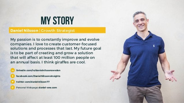 My Story Daniel Nilsson | Growth Strategist My passion is to constantly improve and evolve companies. I love to create cus...