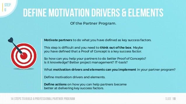 Slide14steps To builda professionalpartner program Define Motivation Drivers & Elements Of the Partner Program. 18 STEP 6 ...