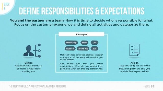 Slide14steps To builda professionalpartner program brandingsupport marketing Define responsibilities & expectations You an...
