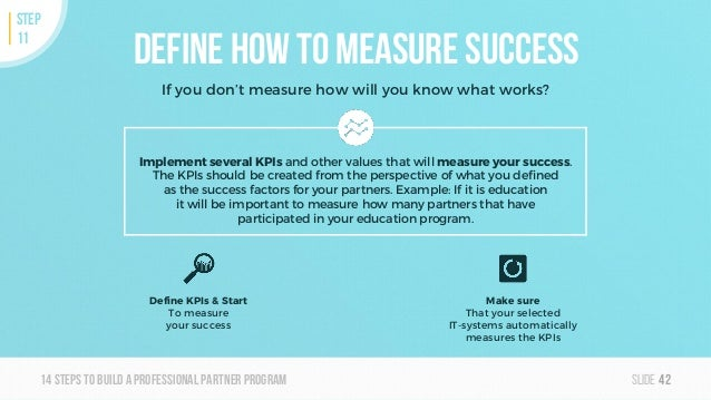 Slide14steps To builda professionalpartner program Define how to measure success If you don't measure how will you know wh...