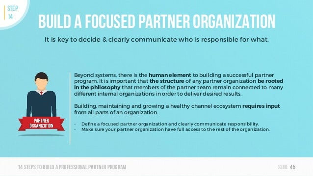 Slide14steps To builda professionalpartner program Build a focused partner organization It is key to decide & clearly comm...