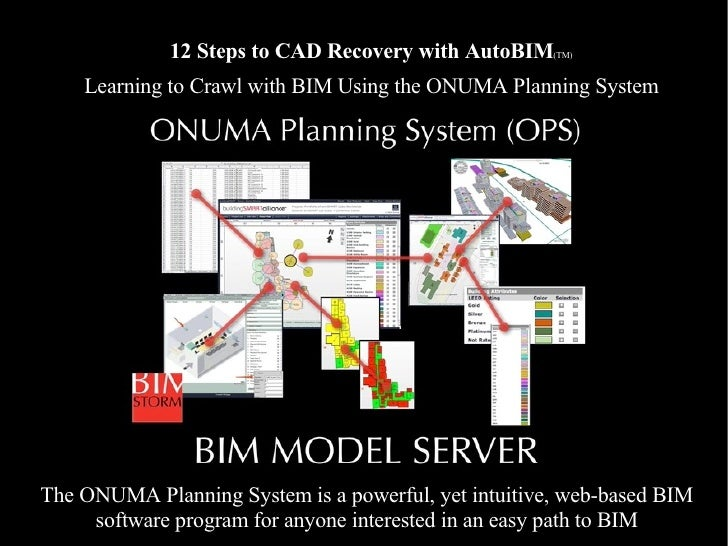 12 Steps to CAD Recovery with AutoBIM (TM) Learning to Crawl with BIM Using the ONUMA Planning System The ONUMA Planning S...