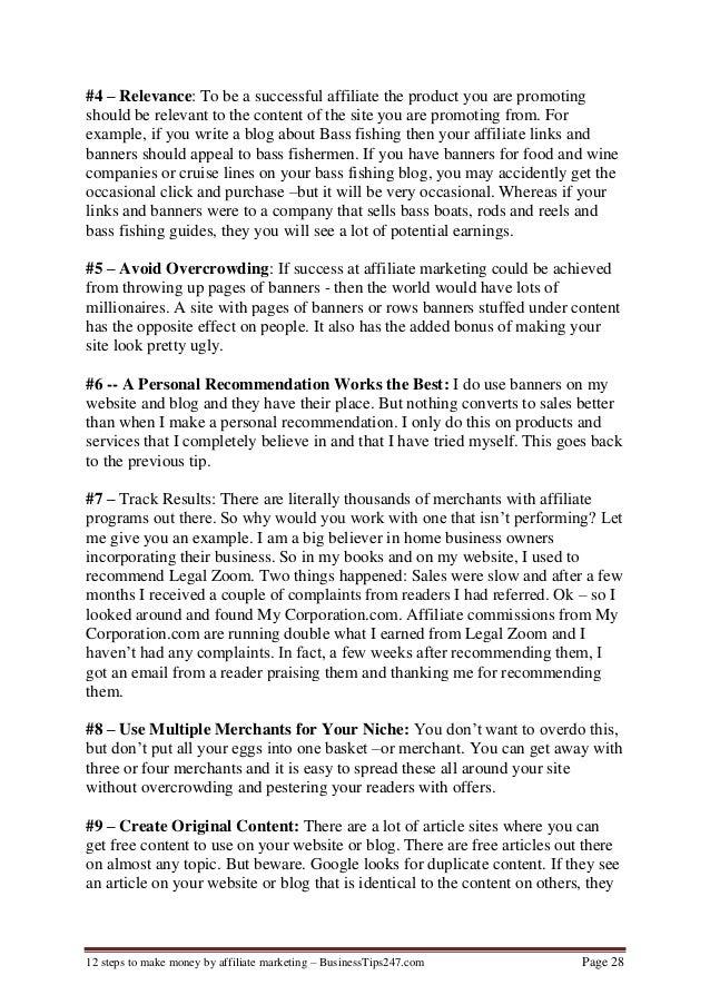 12 steps to make money as affiliate marketing
