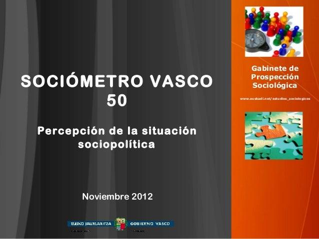 Gabinete deSOCIÓMETRO VASCO                   Prospección                                   Sociológica       50          ...