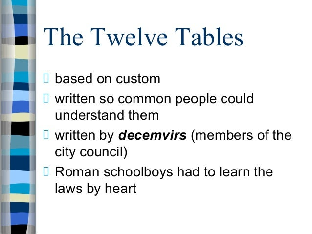 what was the significance of the twelve tables