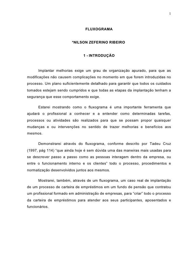 1                                 FLUXOGRAMA                         *NILSON ZEFERINO RIBEIRO                             ...