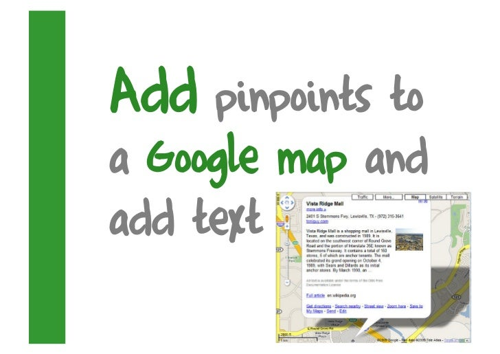 Add pinpoints to a Google map and add text