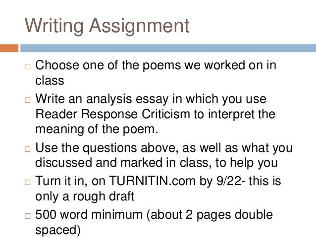 "reading response to a poem essay Poetry: critical response to a poem this is a hugely popular revision tool for the y6 reading 2011 boland higher level english essay ""boland's reflective."