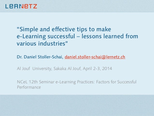"""""""Simple and effective tips to make e-Learning successful – lessons learned from various industries"""" Dr. Daniel Stoller-Sch..."""