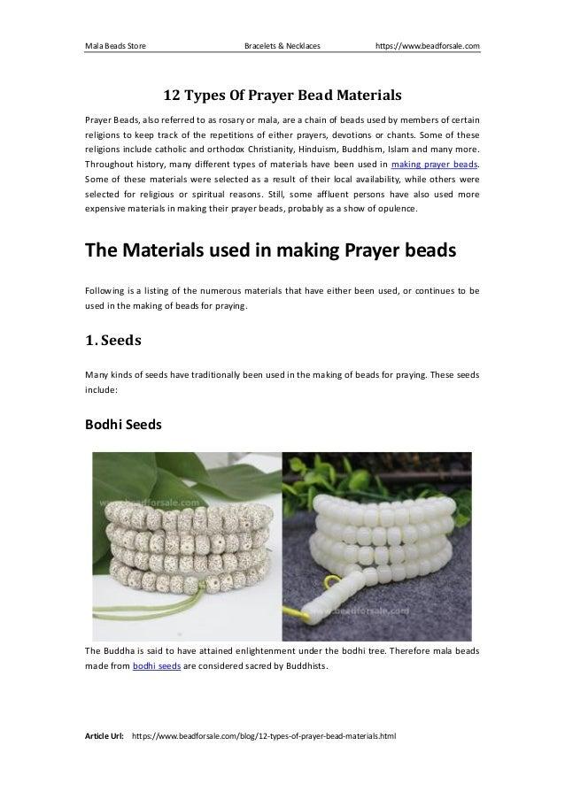 12 types of prayer bead materials