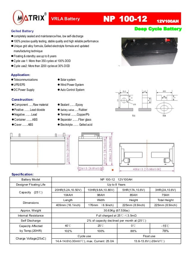 Matrix 12V 100ah AGM Deep Cycle Battery