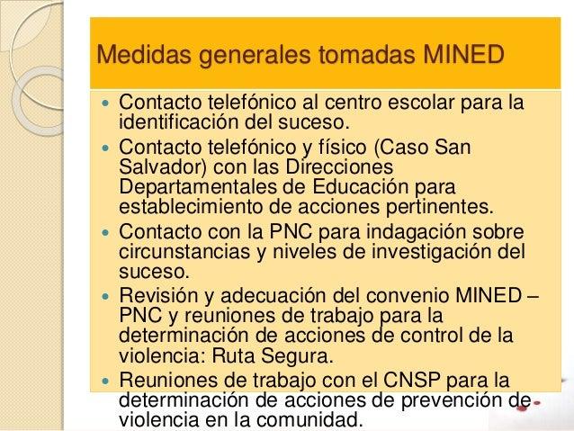 Medidas generales tomadas MINED  Contacto telefónico al centro escolar para la identificación del suceso.  Contacto tele...