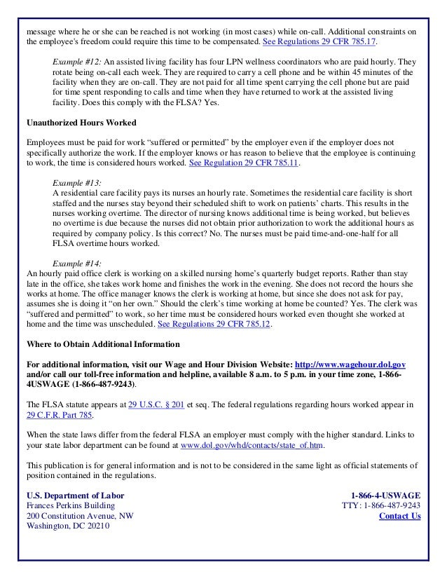 ATX22 Assisted Living Day Handout - Wage & Hour Hours Worked Fact She…