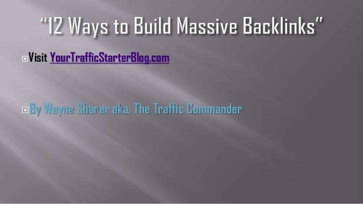 Visit   YourTrafficStarterBlog.comBy   Wayne Sharer aka. The Traffic Commander