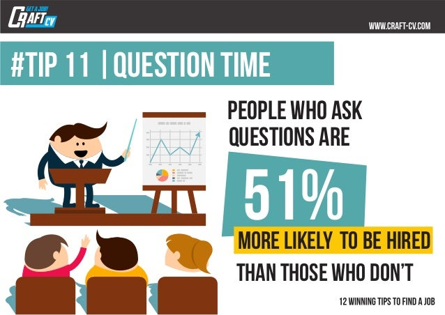 #TIP 11  question time people who ask questions are 51%more likely to be hired than those who don't