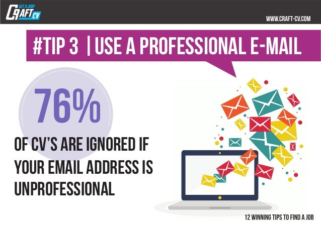 76% unprofessional #TIP 3  use a professional e-mail of Cv's are ignored if your email address is ..... .. .. .. .. .. .. ...