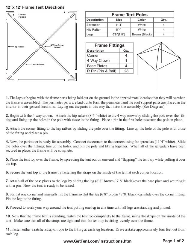 12 X 12 Frame Tent Installation Instructions