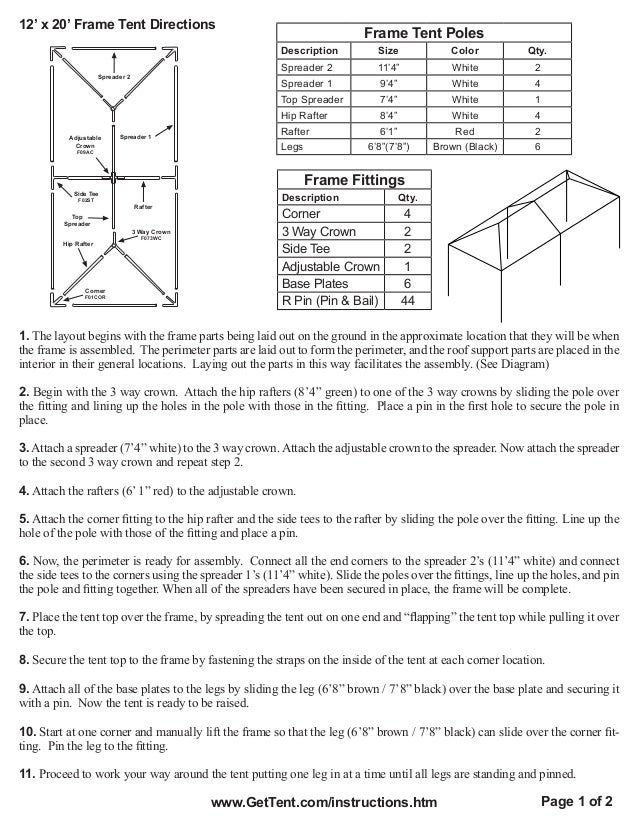 12 X 20 Frame Tent Installation Instructions