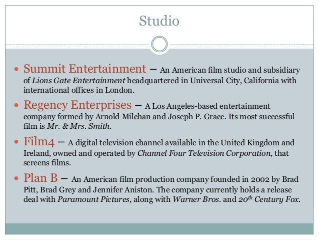 Studio  Summit Entertainment – An American film studio and subsidiary of Lions Gate Entertainment headquartered in Univer...