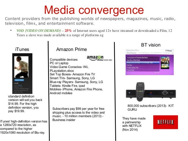 17 Media convergence• 56% of the 25% of Internet users have streamed or downloaded a Film, represents Free downloading. Pu...