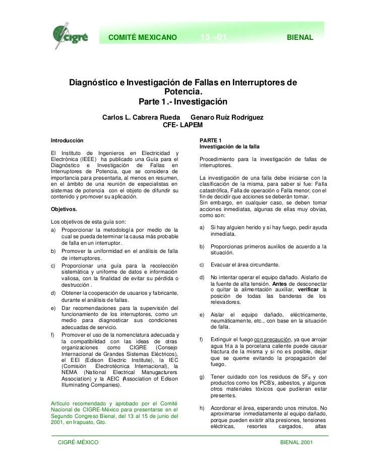 COMITÉ MEXICANO                 13 –01                                BIENAL       Diagnóstico e Investigación de Fallas e...