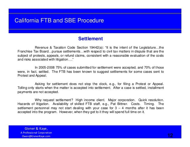 California FTB and SBE Procedure