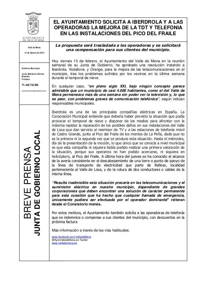 BREVEPRENSA JUNTADEGOBIERNOLOCAL EL AYUNTAMIENTO SOLICITA A IBERDROLA Y A LAS OPERADORAS LA MEJORA DE LA TDT Y TELEFONIA E...