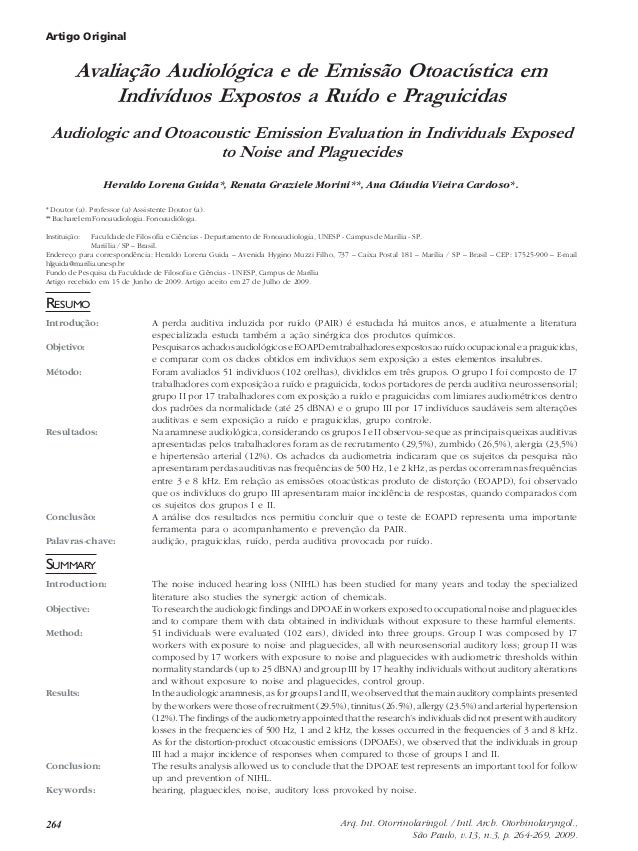 264 Arq. Int. Otorrinolaringol. / Intl. Arch. Otorhinolaryngol., São Paulo, v.13, n.3, p. 264-269, 2009. Artigo Original A...