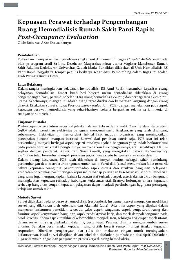 RAD Journal 2013:04:005 Kepuasan Perawat terhadap Pengembangan Ruang Hemodialisis Rumah Sakit Panti Rapih: Post-Occupancy ...