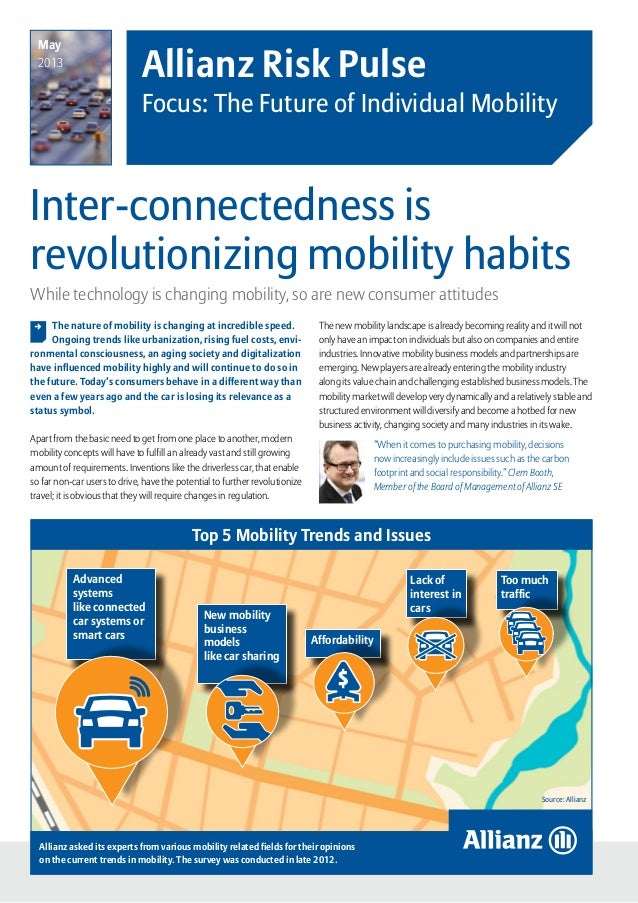 Allianz Risk Pulse – Focus: The Future of Individual Mobility  page 1Inter-connectedness isrevolutionizing mobility habit...