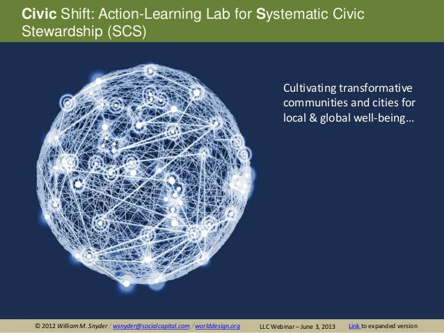 Civic Shift: Action-Learning Lab for Systematic CivicStewardship (SCS)Cultivating transformativecommunities and cities for...