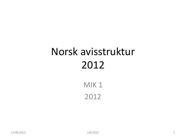 Norsk avisstruktur2012MIK 1201213.06.2013 JaO 2012 1