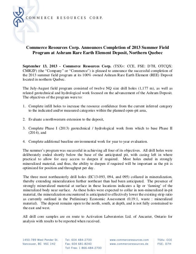 Commerce Resources Corp. Announces Completion of 2013 Summer Field Program at Ashram Rare Earth Element Deposit, Northern ...