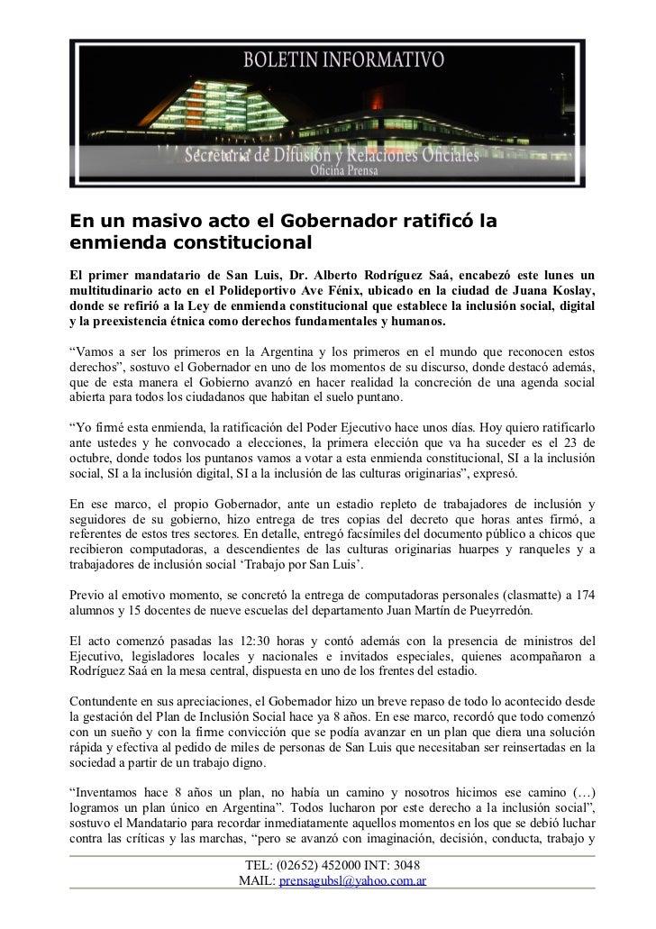 En un masivo acto el Gobernador ratificó laenmienda constitucionalEl primer mandatario de San Luis, Dr. Alberto Rodríguez ...